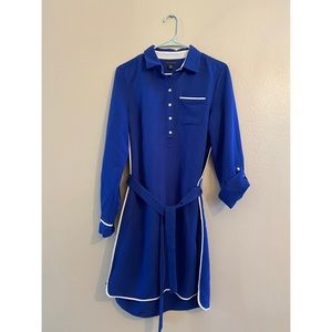 Tie-Front ShirtDress + Sz M - Marine Blue